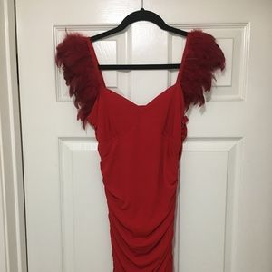 Arden B Feathered Shirred Mini Dress